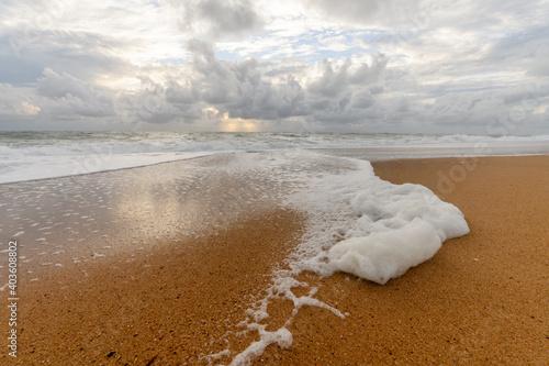 Fototapeta Windswept sea foam on a beach in the Atlantic Ocean