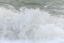 Waves Breaking On The Beach At The Edge Of The Atlantic Ocean.