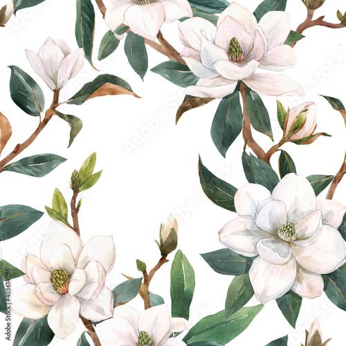 Fototapeta Beautiful seamless pattern with hand drawn watercolor white magnolia flowers
