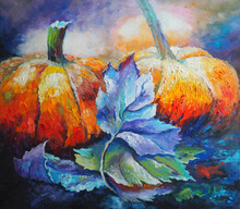 Original Oil Painting On Canvas - Pumpkins In The Autumn - Impressionism Style