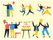 Party background. Happy group of people jumping on a bright background. The concept of friendship, healthy lifestyle, success. Vector illustration
