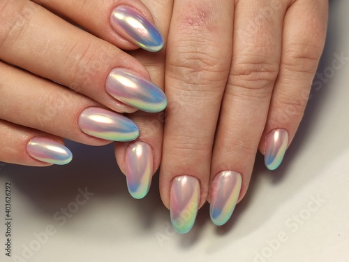 Fotografie, Obraz Nail Polish. Art Manicure. Colored Nail Polish. Beauty hands.