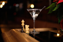 Martini Gibson Cocktail Near Chess Queen's Gambit