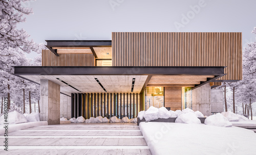 3d rendering of modern cozy house with parking and pool for sale or rent with wood plank facade and beautiful landscaping on background. Cool evening night with cozy light from windows