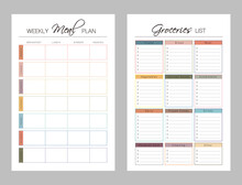 Weekly Meal Planner Printable Template Vector. Meal Planning And Groceries List. Easily Plan Out Of Your Weekly Meals For Breakfast, Lunch, Dinner And Snacks. Simple Clear Vector Illustration Design.