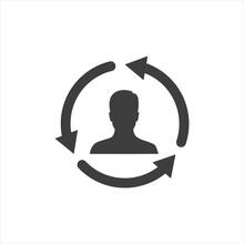 Businessman Figure With Arrow Around Line Style Icon Vector Illustration Design