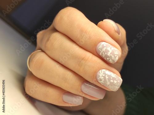 Obraz na plátně glamorous beautiful manicure on a trendy texture