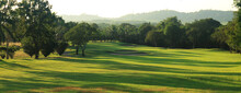Beautiful Golf Course At The Sunset, Sunrise Time. , Morning Time
