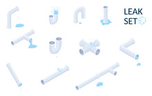 Vector Isometric Set Of Plumbing Pipes With Leaks Isolated On White.Isometric Illustration.