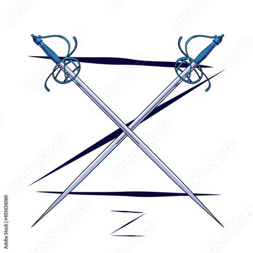 Tela Vector illustration of two crossed fencing swords over uppercase letter Z