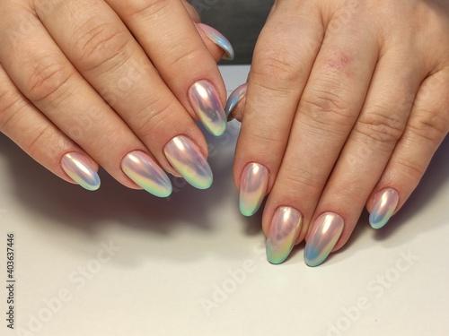 Fototapeta beautiful manicure of nails on the background of a fashionable