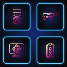Set Line Military Rank, Target Sport, Reward Medal And Submachine Gun M3. Gradient Color Icons. Vector.