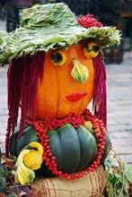 Woman Face Made Of Pumpkins Close-up