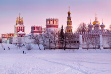 Winter View Of Novodevichy Convent In Moscow , Russia