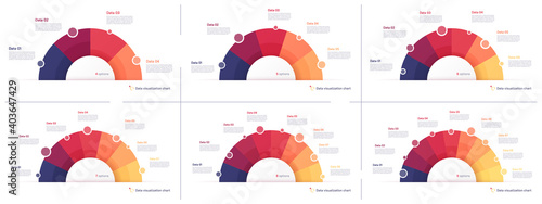 Set of vector pie chart infographic templates in the form of semicircle