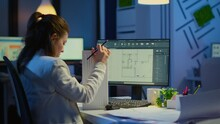 Engineer Constructor Designer Architect Creating New Component In CAD Program Working In Business Office. Industrial Woman Employee Studying Prototype Idea Showing Cad Software On Device Display