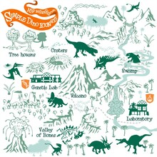 Prehistoric Dinosaurs Map Builder With Simple Icon Elements In Vector Adventure Illustration Format