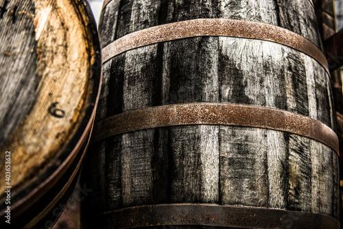 Fototapeta Rustic bourbon barrels at a Kentucky distillery.