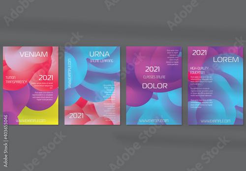 Obraz Flyer Layout with Futuristic Wavy Gradient Cloud Shape - fototapety do salonu