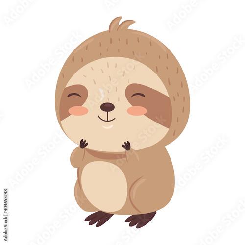 Fototapeta premium Kawaii sloth bear animal cartoon design, Cute character and nature theme Vector illustration