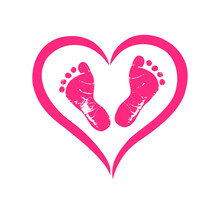 Pink Vector Baby Footprints Silhouette Print Design. Footsteps In Outline Heart Frame Shape. Baby Shower Decor. New Born Sign Icon. It's A Girl. Abstract Love Symbol. Vinyl Wall Sticker Decal.