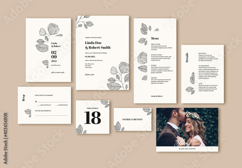 Obraz Wedding Suite Layout with Leaf Illustrations - fototapety do salonu