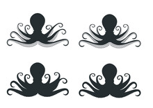 Octopus Icons Set. Black Silhouette Of Molluscs. Isolated Octopus On A White Background. Vector Eps10
