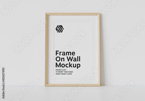 Obraz Wood Frame Leaning on Wall Mockup - fototapety do salonu