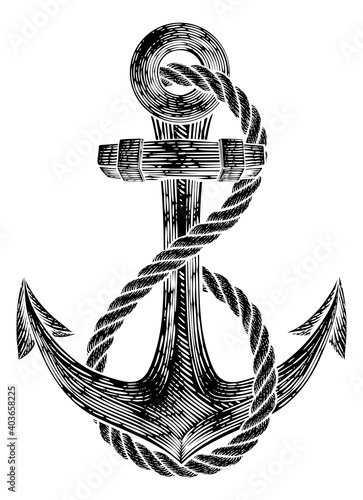 Fotografia An anchor from a boat or ship with a rope wrapped around it tattoo or retro styl