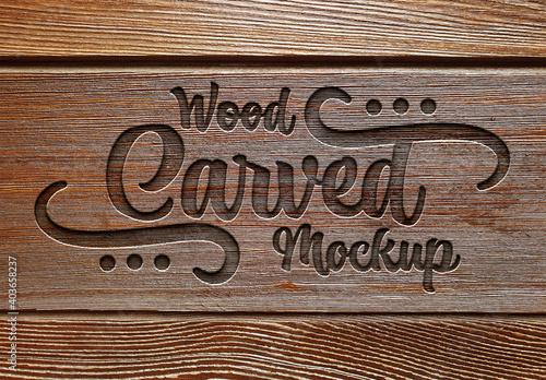 Fototapeta Engraved Text Effect on Wood Plank Texture Mockup obraz