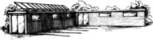 Sketchy Black And White Image Of A Container Cafe .Monochrome Freehand Illustration Sustainable Architecture