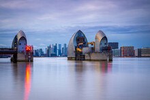 Long Exposure View Of Canary Wharf And Thames Barrier In London