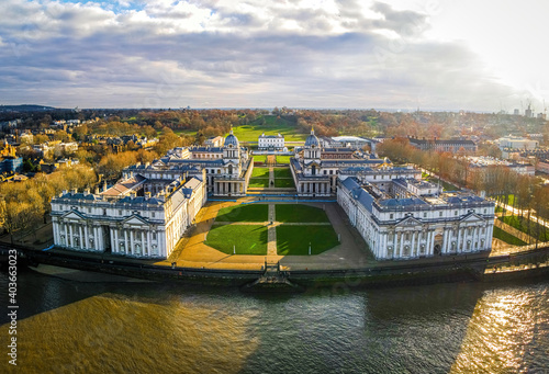 Fotografiet Aerial view of Old Royal Naval College in Greenwich, London