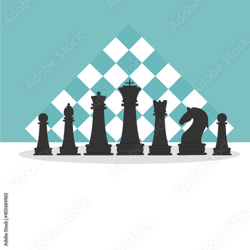 Vector illustration set of black chess Wallpaper Mural