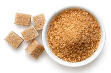 Brown Sugar Cubes And Granulated Sugar.