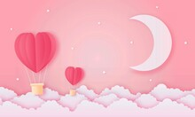 Paper Cut Happy Valentine's Day Concept. Landscape With Cloud, Moon And Heart Shape Hot Air Balloons Flying On Pink Sky Background Paper Art Style. Vector Illustration.