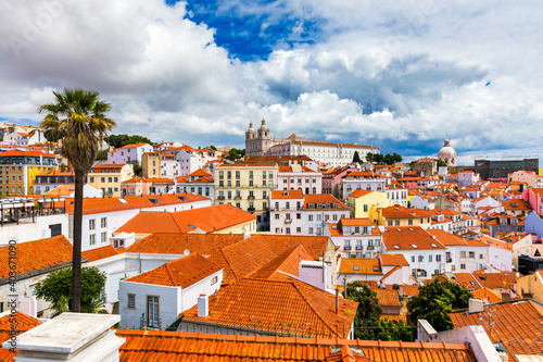 Fototapeta Lisbon, Portugal city skyline over the Alfama district. Summertime sunshine day cityscape in the Alfama, historic old district Alfama in Lisbon, Portugal. Lisbon cityscape in the Alfama District. obraz
