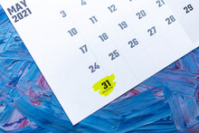May 2021 Calendar. May Monthly Calendar On Blue Background