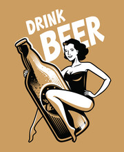 Beer And Girl Retro Poster. Vintage Vector Illustration