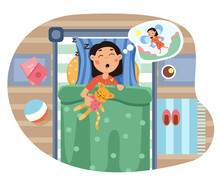 Young Girl Lying In Bed Holding Her Cat Dreaming That She Is A Little Angel With Wings In A Top Down View, Colored Cartoon Vector Illustration