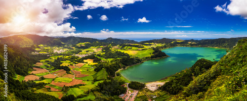 Aerial view of Lagoa das Furnas located on the Azorean island of Sao Miguel, Azores, Portugal Fototapet