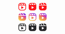 A Large Set Of Colored Playback Buttons Isolated On A White Background. Buttons For Blogging, Streaming, And Storis. Vector Illustration