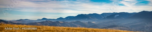 Obraz Panorama of the Carpathian mountains in the fog - fototapety do salonu