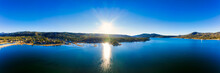 Big Bear Lake Bay View With Sunrise Over Lake