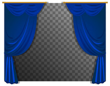 Blue Curtains With Transparent Background Background Transparent Illustration