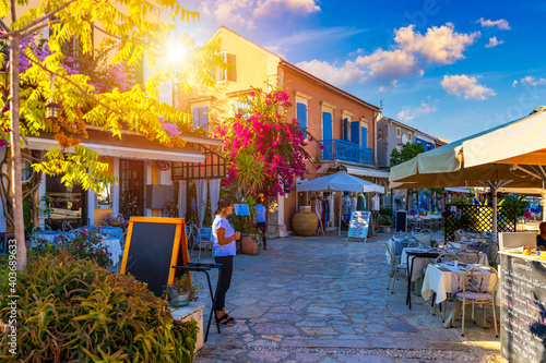 Fiskardo village, Kefalonia island, Greece. Fiscardo on the Island of Kefalonia in Greece. The holiday destination. Beautiful narrow streets in Fiskardo, Kefalonia, Greece