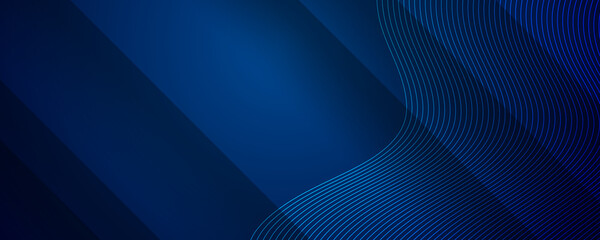Bright navy blue dynamic abstract vector background with diagonal lines. Trendy classic color of 2021. 3d cover of business presentation banner for sale event night party. Blue abstract background