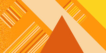 Orange And Yellow Colored Geometric Vector Background With Thin Frame And Abstract Dots And Lines. Orange Yellow White Brown Line Triangle Geometric Background