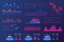 Bundle Infographic UI, UX, KIT Elements. Modern Infographic Dashboard, Financial Statistics And Analytics Progress Scale Panel,control Diagram, Digital Display Screen. Navigation And Graphs Components