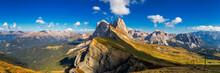 Panorama On Seceda Peaks. Trentino Alto Adige, Dolomites Alps, South Tyrol, Italy. Odle Mountain Range, Val Gardena. Majestic Furchetta Peak. Odles Group Seen From Seceda, Santa Cristina Val Gardena.
